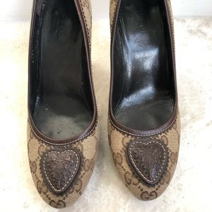 Gucci monogram heart heels! Great condition